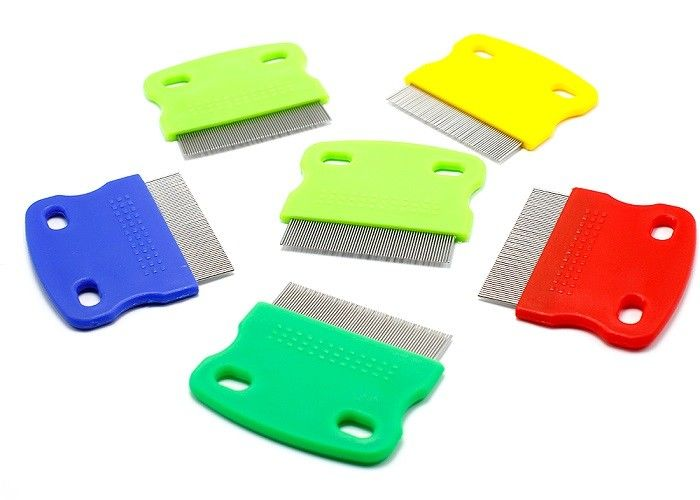 Multicolor Double Hole Pet Plastic Products , Short Stainless Steel Needle Pet Flea Comb