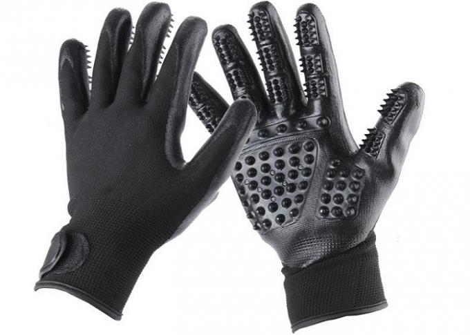 Five Finger Pet Massage Glove Polyester For Bathing Eco Friendly Black TPR