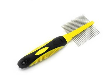 China Double Head Needle Dog Grooming Comb , Yellow 84g TPR Rotating Tooth Comb distributor