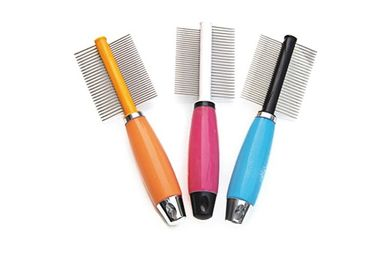China Stainless Steel Steel Pet Comb Bule Red Orange Different Teeth ABS Plastic distributor