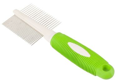 China Double Side Teeth Steel Pet Comb Green 21 * 6.8CM With Customized Logo Printing distributor
