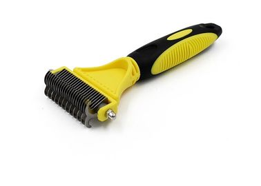 China TPR Handle Dog Grooming Comb Two Sided Stainless Steel Teeth 137g ISO9001 Approved factory