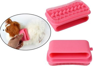 China Massage Cleaning Silicone Plastic Pet Products Pink Pet Grooming Brush Custom Printing distributor