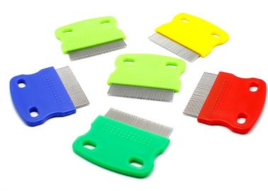 China Multicolor Double Hole Pet Plastic Products , Short Stainless Steel Needle Pet Flea Comb distributor